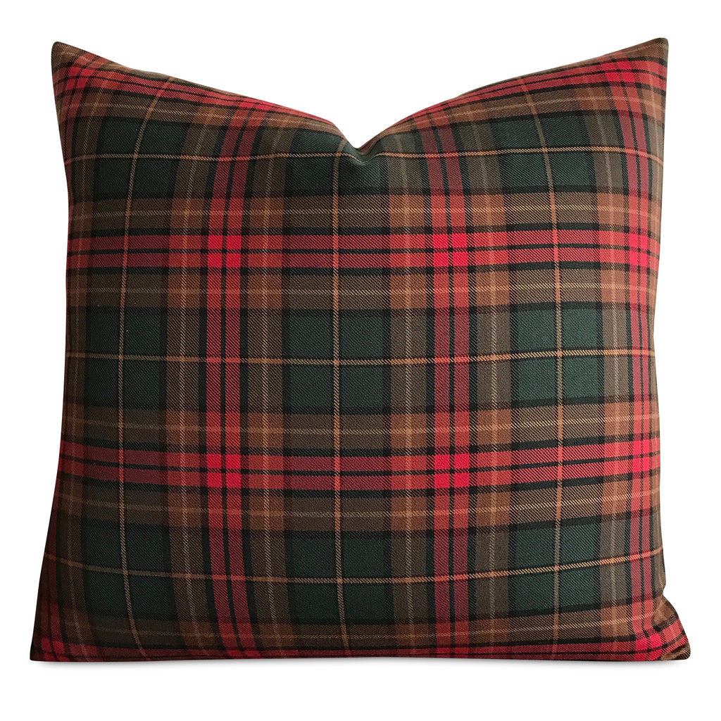 "22""x 22"" Classic Green and Red Plaid Christmas Lodge Decorative Pillow Cover"