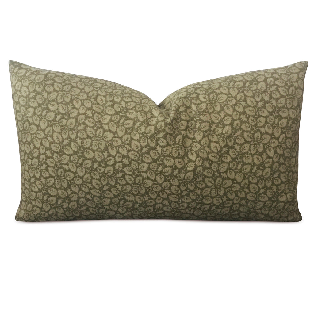 "15"" x 26"" Olive Green Leaf Print Decorative Pillow Cover"