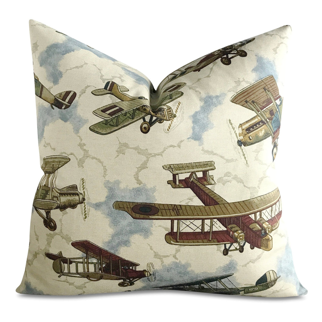"22"" x 22"" Vintage Airplane Aviator Print Decorative Pillow Cover"