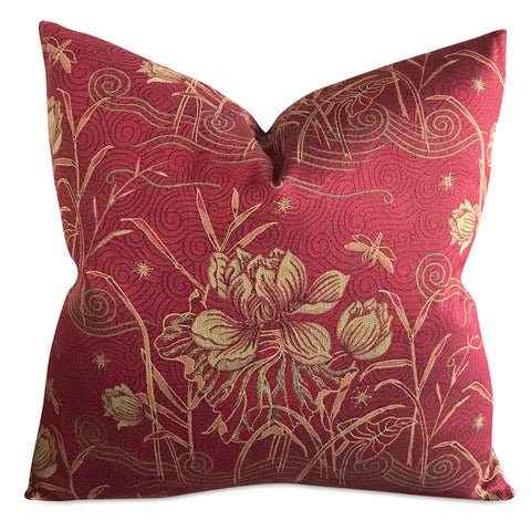 "22"" x 22"" Asian Floral Iris Dragonfly Luxury Woven Decorative Pillow Cover"