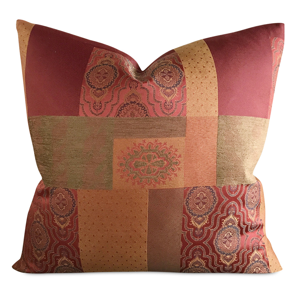 "22""x 22"" Red and Gold Sateen Patchwork Luxury Woven Decorative Pillow Cover"