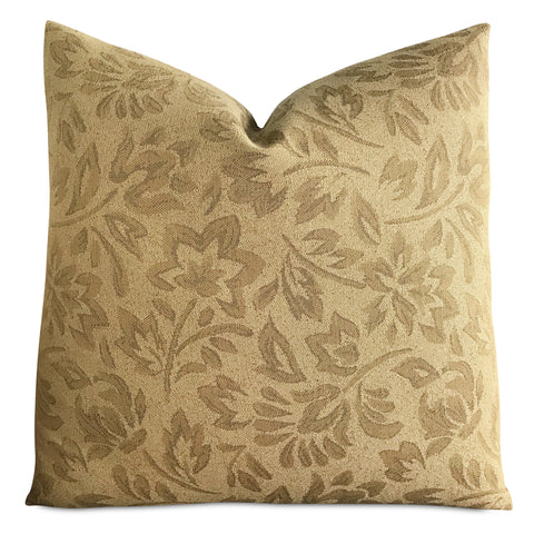 "22""x 22"" Tan Neutral Floral Jacquard Luxury Woven Decorative Pillow Cover"