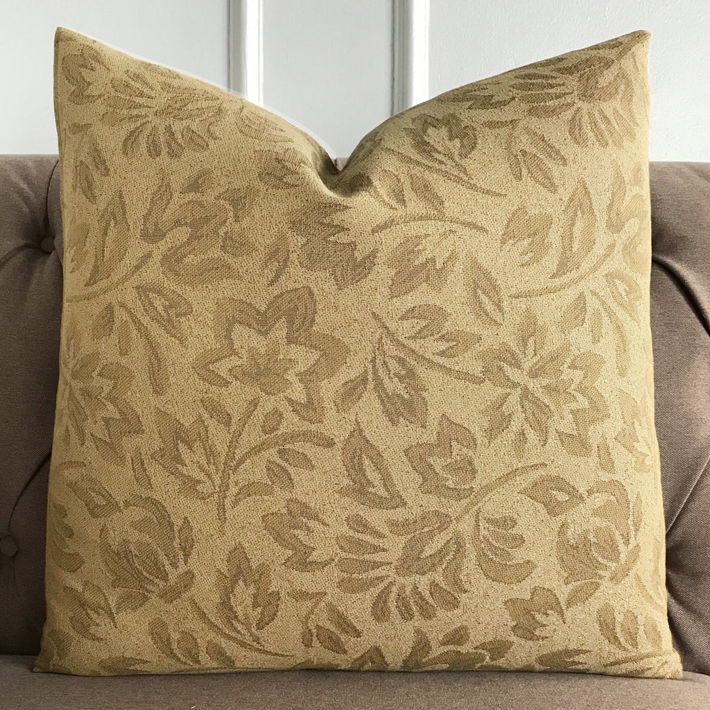 "Tan Neutral Floral Jacquard Luxury Woven Decorative Pillow Cover 22""x 22"""