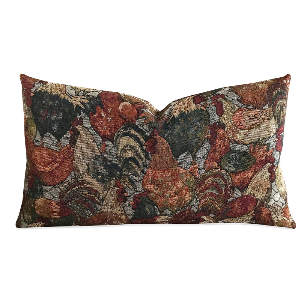 "15"" x 26"" Vintage Tapestry Rustic Rooster Luxury Woven Decorative Pillow Cover"