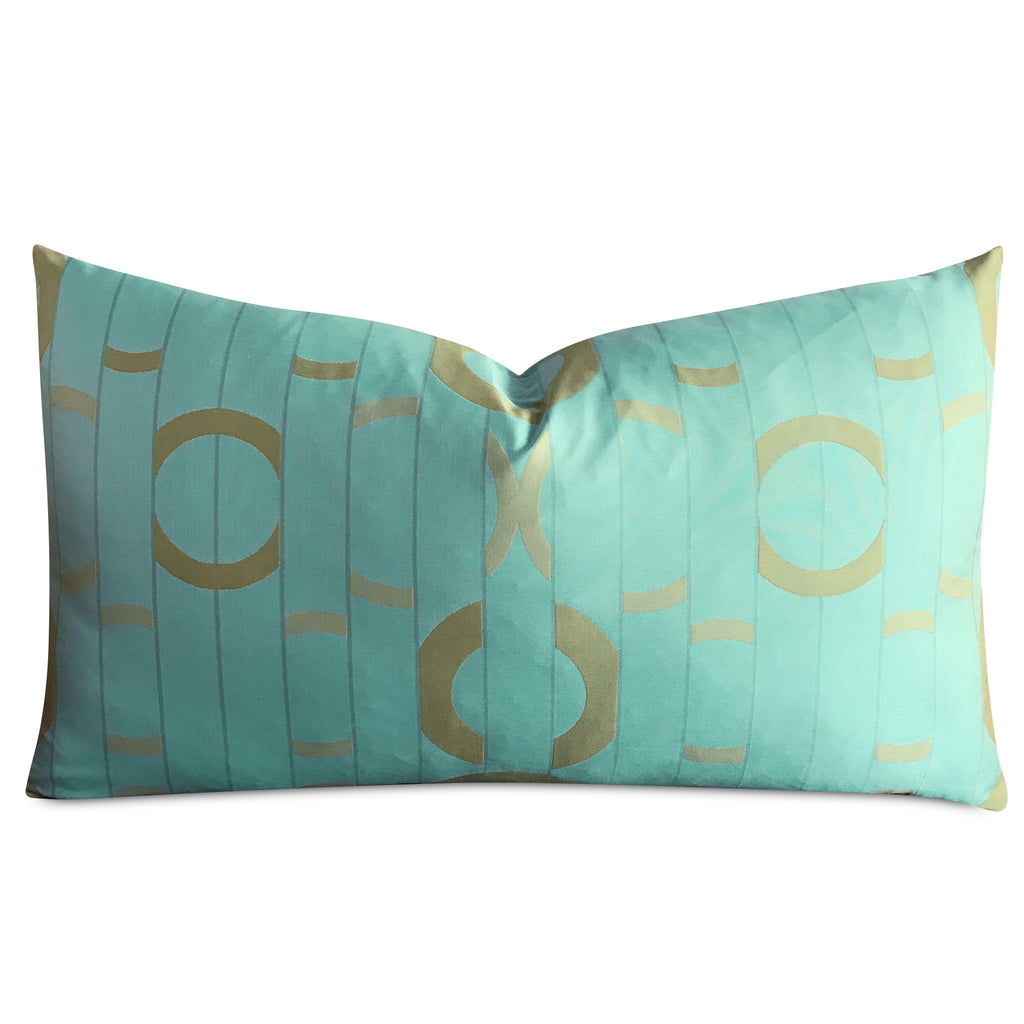 "15""x 26"" Aquamarine Turquoise Gold Geometric Luxury Woven Decorative Pillow Cover"