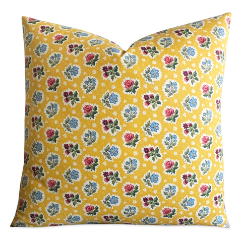 "22""x 22"" Bright Yellow English Country Floral Decorative Pillow Cover"