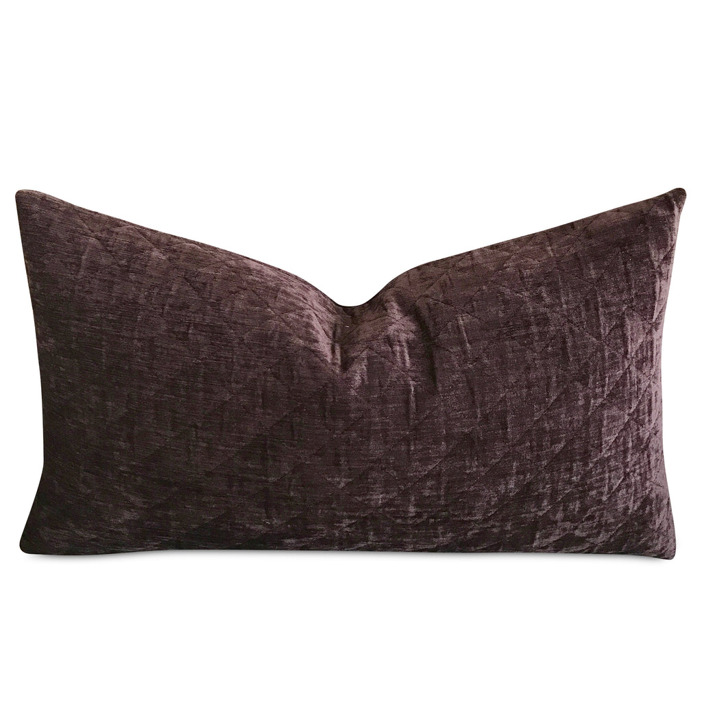 "15""x 26"" Dark Purple Velvet Pleated Decorative Pillow Cover"
