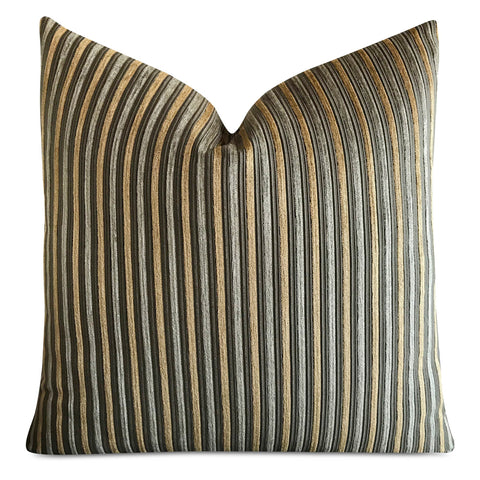 "22""x 22"" Green Gold Velvet Striped Luxury Textured Decorative Pillow Cover"