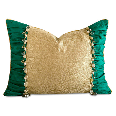"16"" x 22"" Ruched Green Gold Paisley With Bead Trim Christmas Luxury Decorative Pillow Cover"