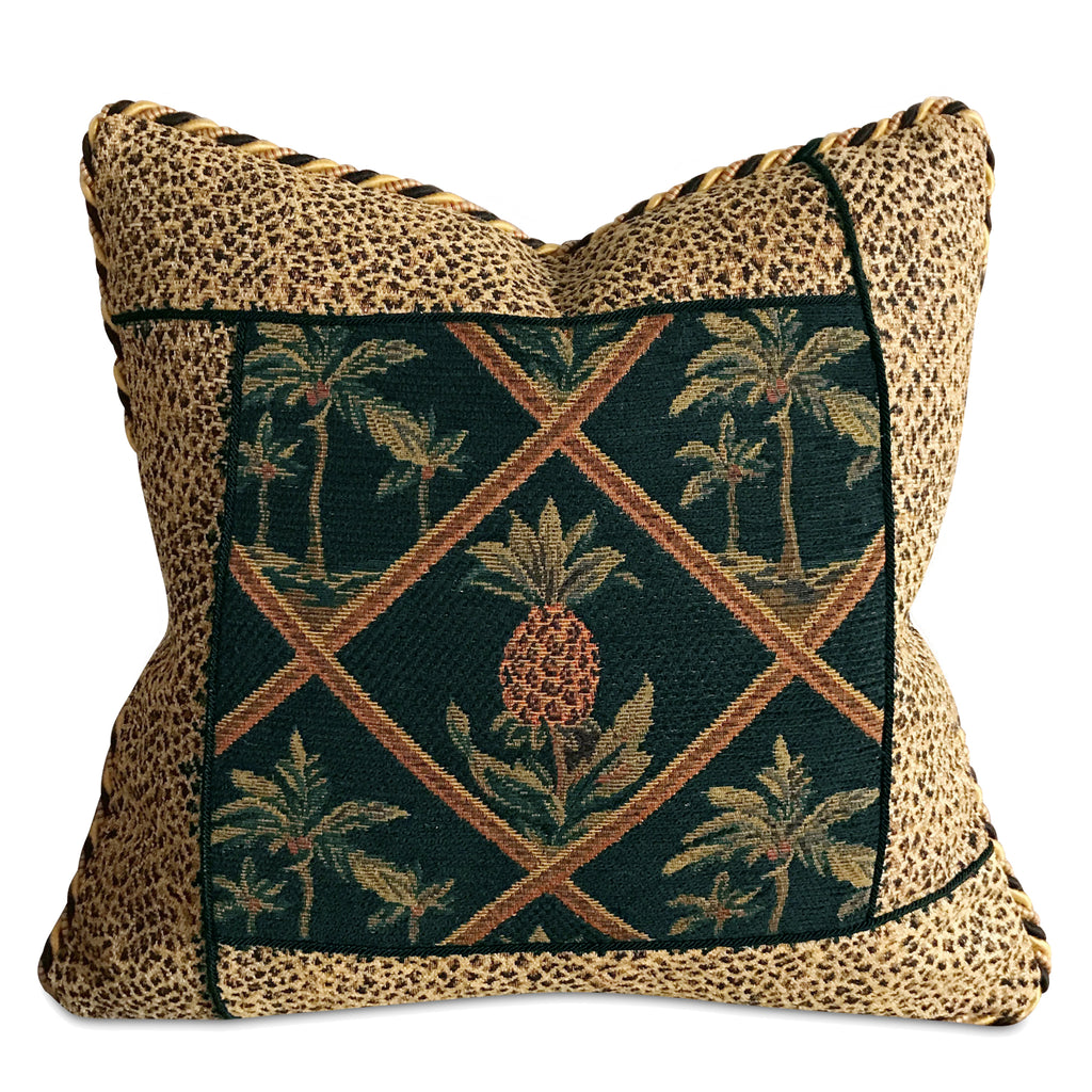 "16"" x 16"" Vintage Pineapple Tapestry With Cheetah Luxury Woven Decorative Pillow Cover"