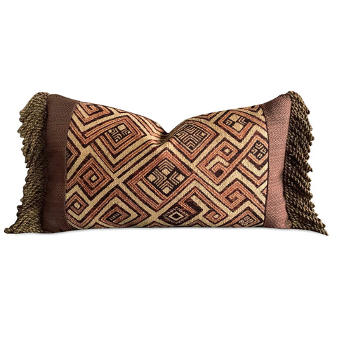 "13"" x 22"" African Safari Geometric With Tassels Trims Decorative Pillow Cover"