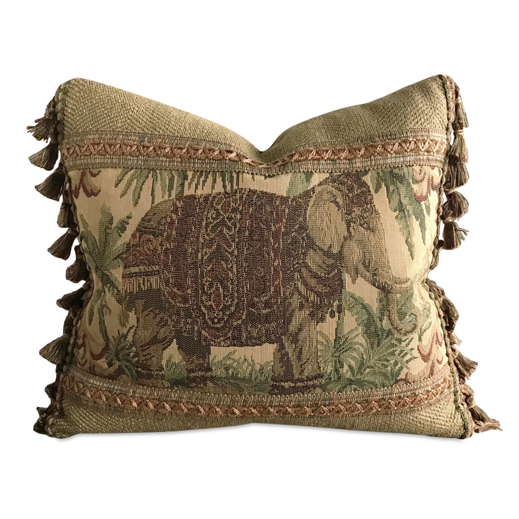 "Boho Exotic Elephant Vintage Tapestry Decorative Pillow Cover 14"" x 16"""