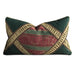"15"" x 26"" Christmas Green and Gold Ruched Embellised Jacquard Decorative Pillow Cover"
