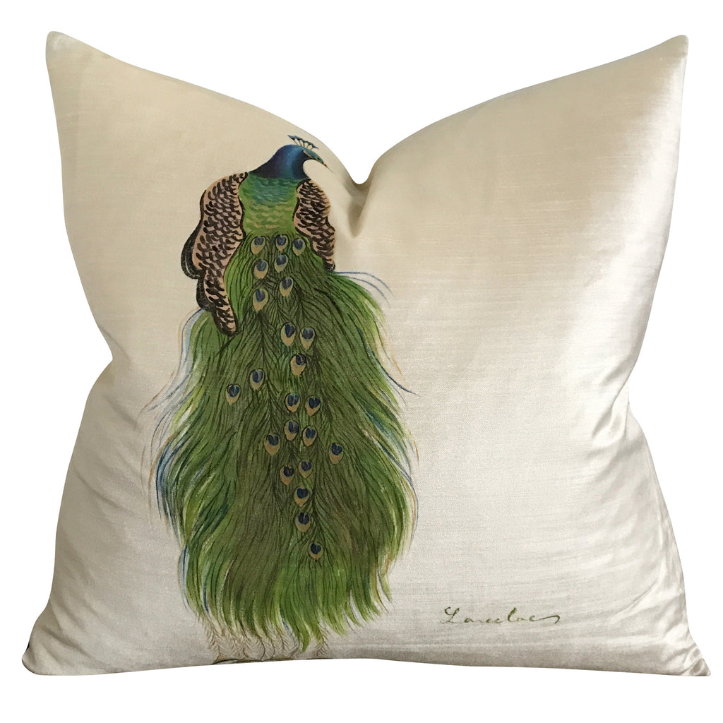 "20"" x 20"" Peacock Handpainted Cream Velvet Luxury Decorative Pillow Cover"