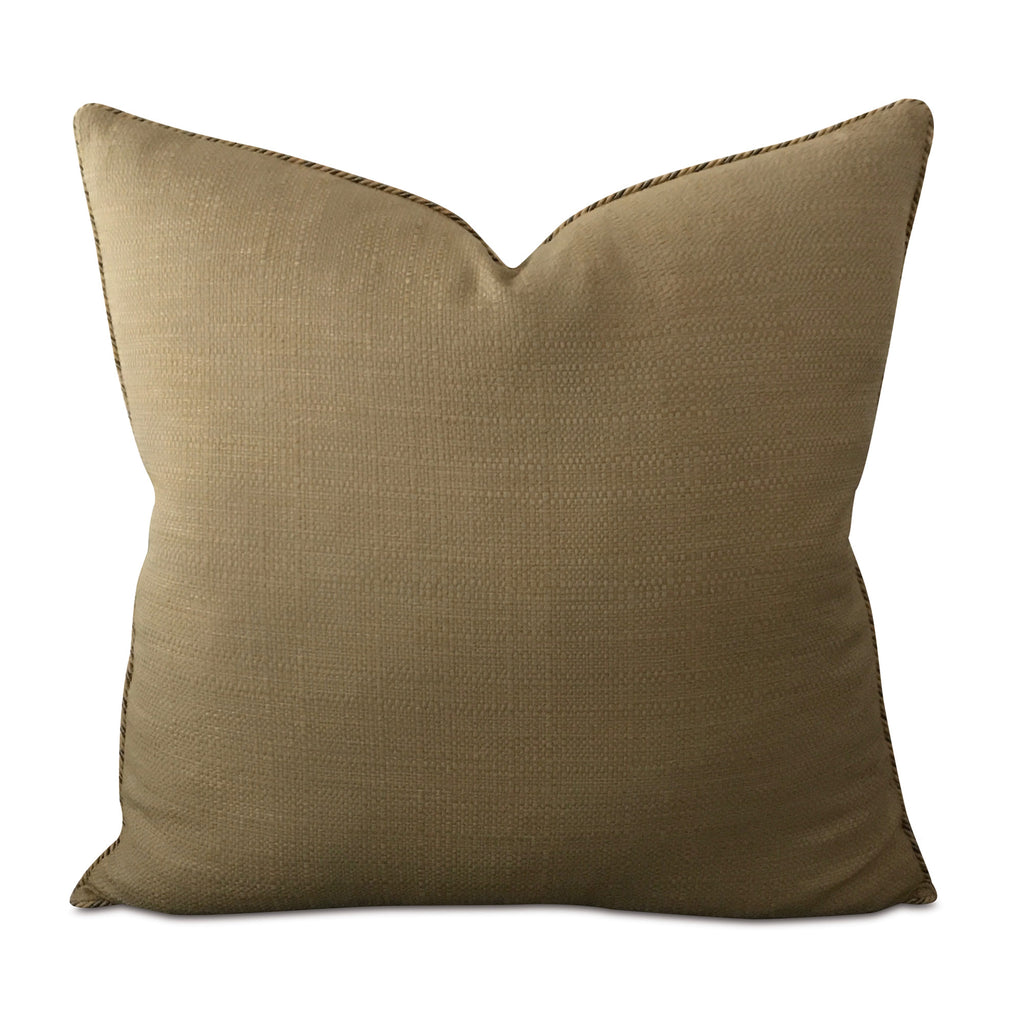 "26"" x 26"" Tan Euro Sham with Rope Trim Pillow Cover"