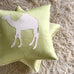 "22"" x 22"" Silk Lime Green Camel Lasercut Artisan Luxury Decorative Pillow Cover"