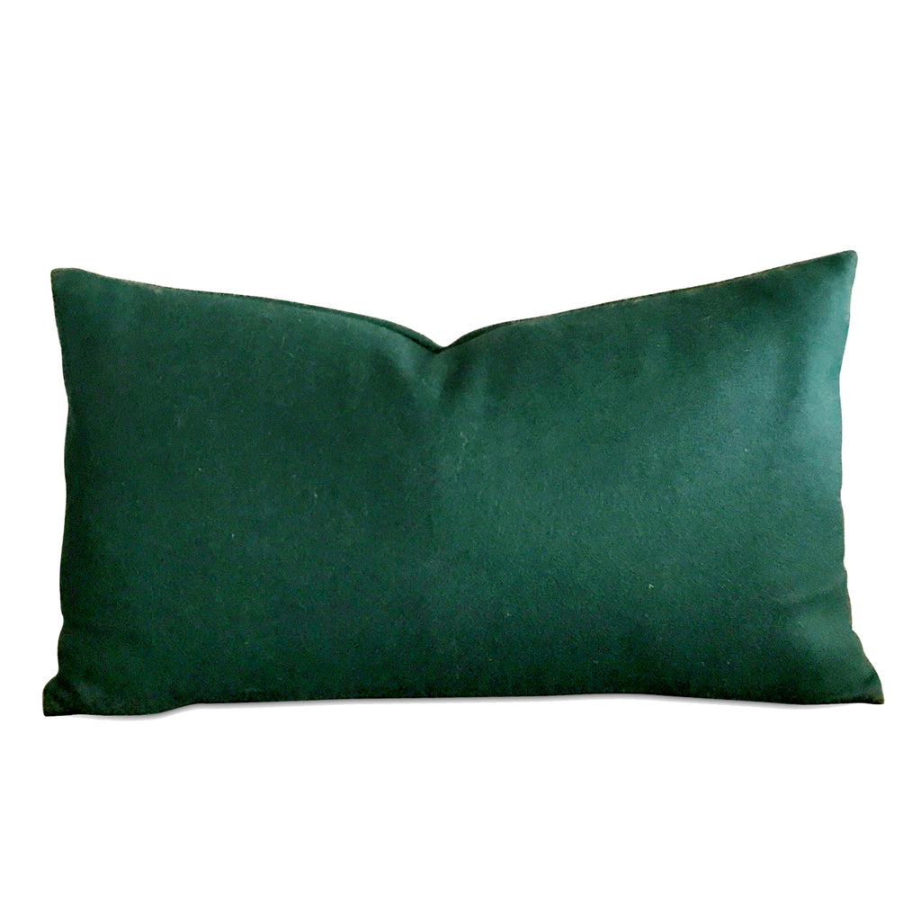 "15"" x 26"" Deep Forest Green Luxury Wool Decorative Pillow Cover"