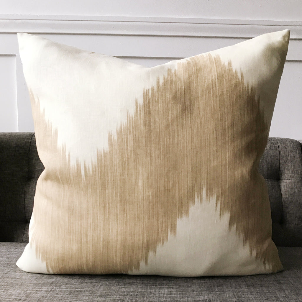"18"" x 18"" Taupe and Ivory Ikat Boho Luxury Woven Decorative Pillow ..."