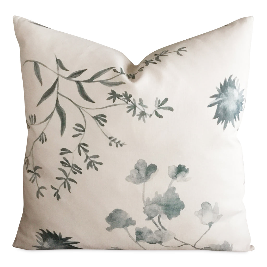 "24"" x 24"" Jade Blue Watercolor Floral Linen Luxury Decorative Pillow Cover"