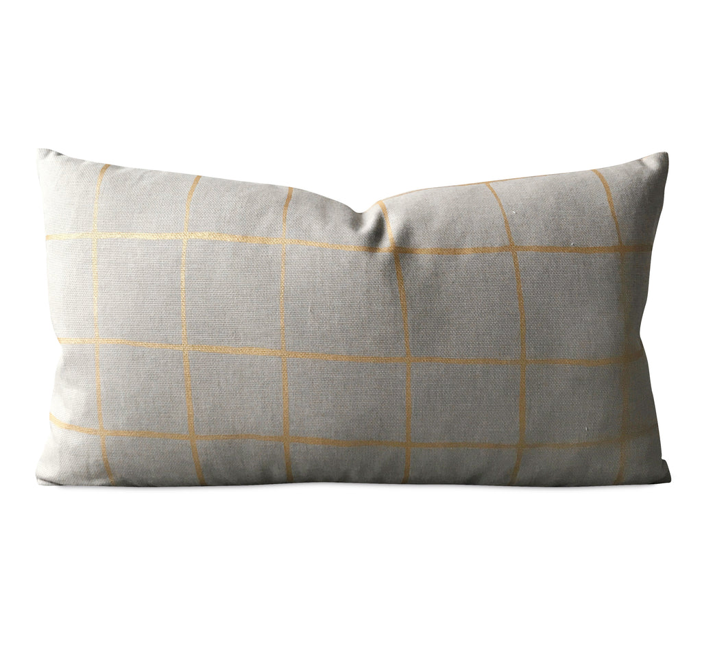 "Modern Gray Gold Stripe Rectangular Luxury Decorative Pillow Cover 15"" x 26"""