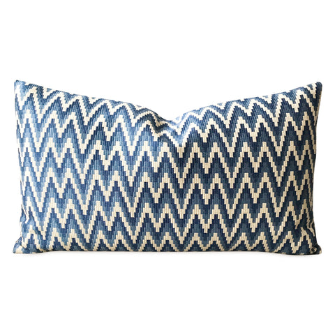 "15"" x 26"" Ivory Navy Chevron Luxury Decorative Pillow Cover"