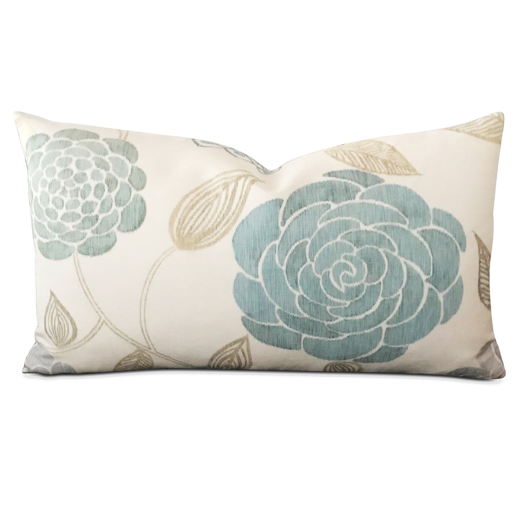 "15"" x 26"" Teal Floral Luxury Woven Decorative Pillow Cover"