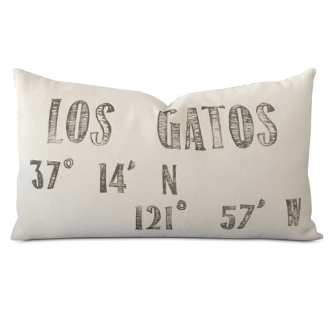 "15"" x 26"" Printed Text Los Gatos Luxury Decorative Pillow Cover"