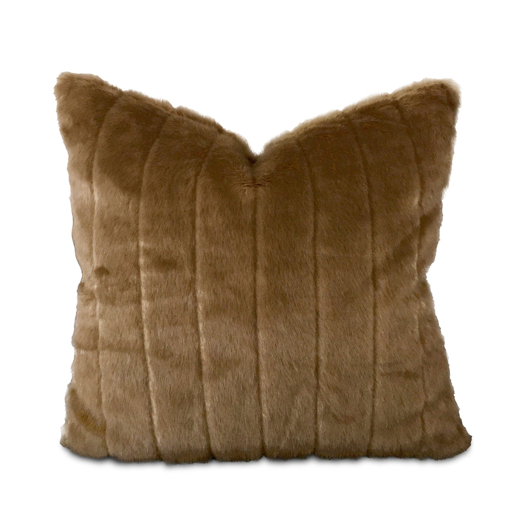 "22"" x 22"" Faux Mink in Caramel Luxury Pillow Cover"