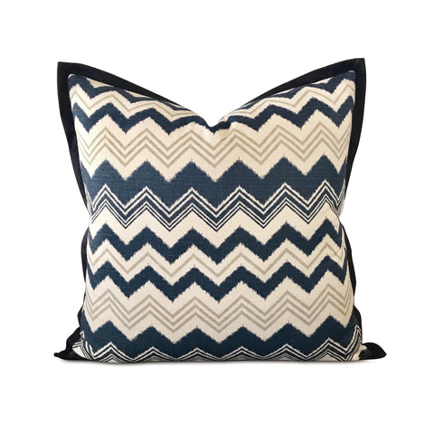 "26"" x 26"" Navy White Ikat Luxury Woven Euro Pillow Cover"
