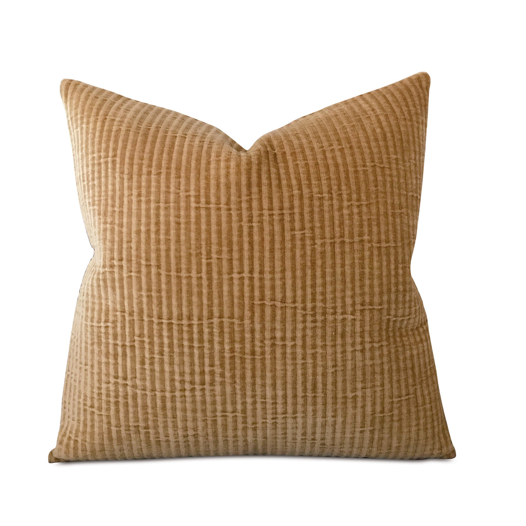 "Gold Corduroy Ribbed Luxury Decorative Pillow Cover 22"" x 22"""