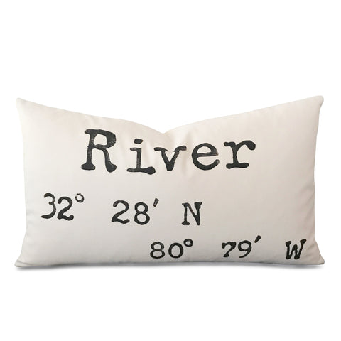 "Block Printed River Coordinates Luxury Decorative Pillow Cover 15"" x 26"""