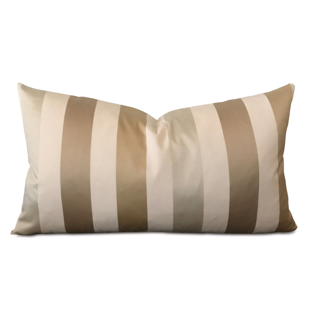 "15"" x 26"" Silk Gold Striped Luxury Decorative Pillow Cover"