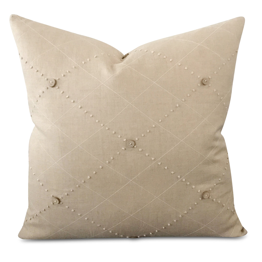 "20"" x 20"" Taupe Linen Button Textured Luxury Woven Decorative Pillow Cover"