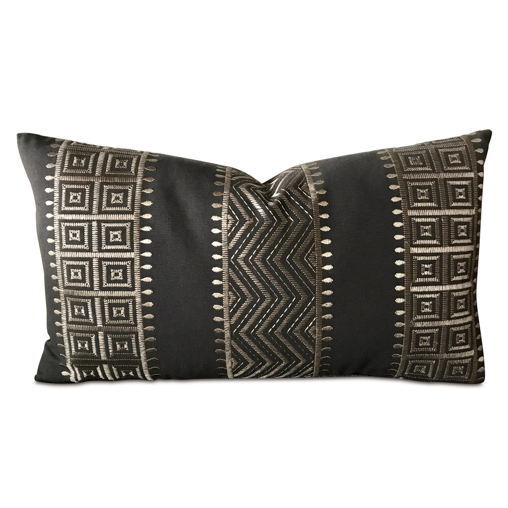 "15"" x 26"" Silver Charcoal Geometric Woven Decorative Pillow Cover"