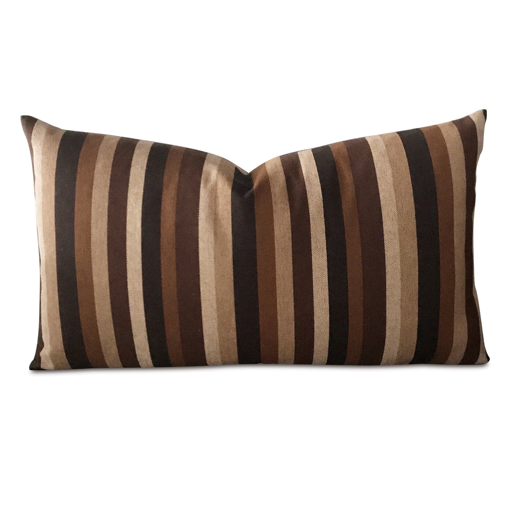"15"" x 26"" Brown Modern Striped Woven Decorative Pillow Cover"