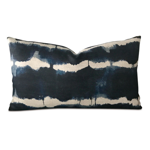 "15"" x 26"" Indigo Tie-Dye Woven Decorative Pillow Cover"