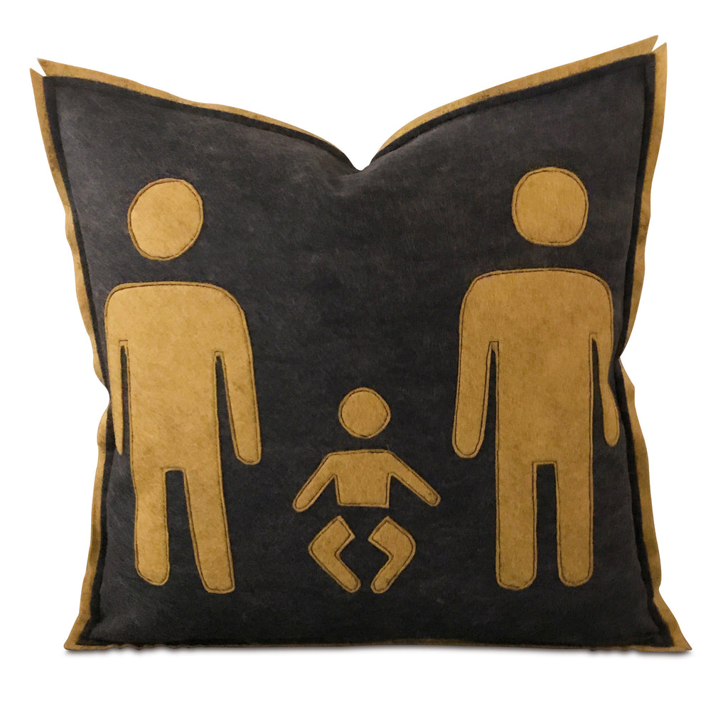 "18"" x 18"" Male Male Family Felt Decorative Pillow Cover"