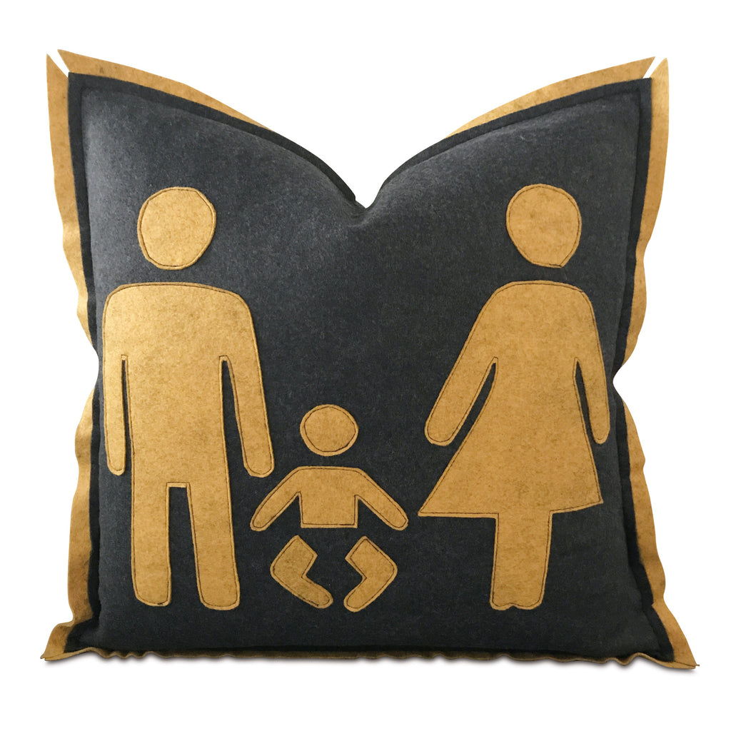 "18"" x 18"" Male Female Family Felt Decorative Pillow Cover"