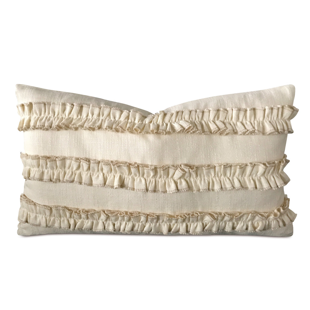 "13"" x 22"" Cream Ruffled Luxury Woven Decorative Pillow Cover"