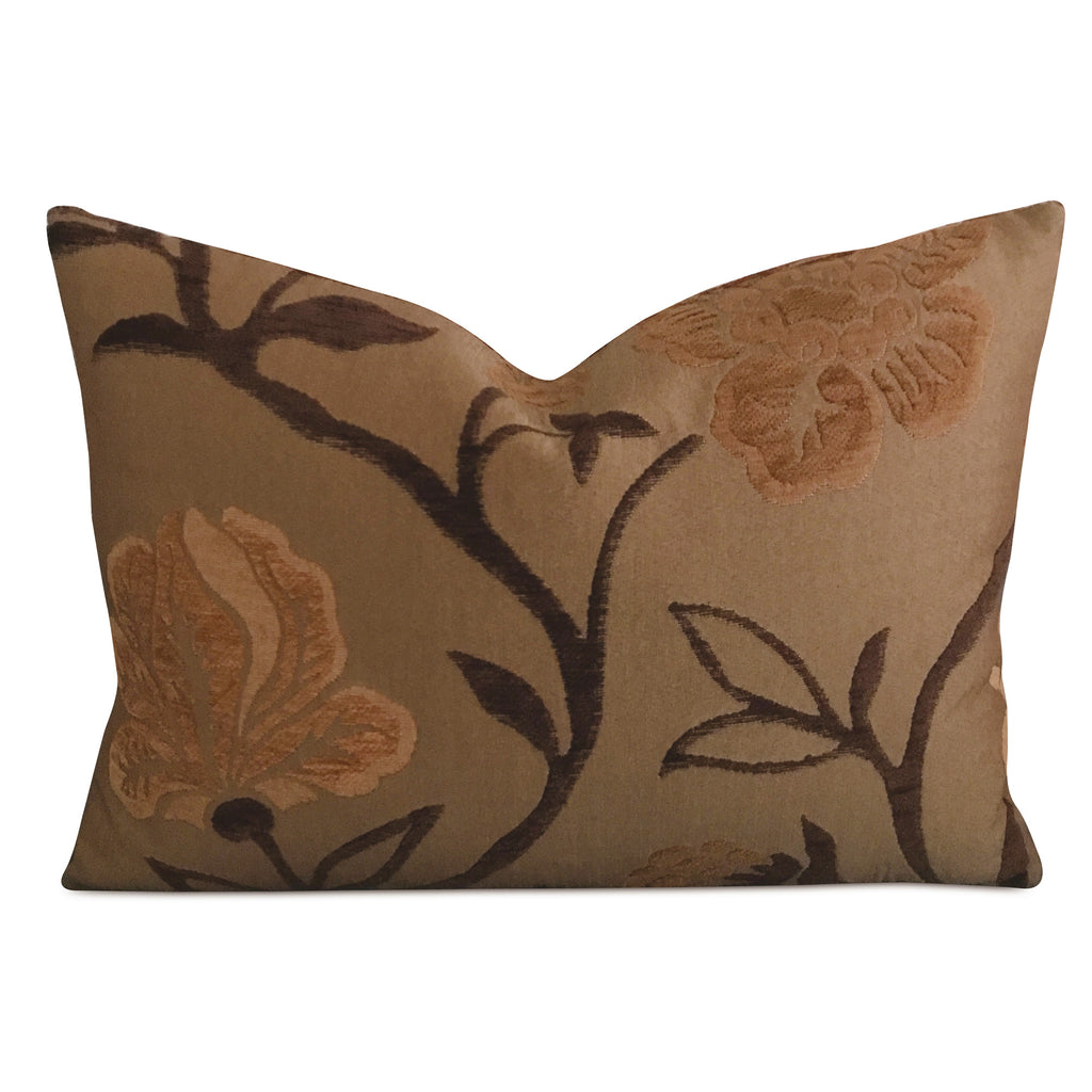 "16"" x 22"" Bronze Floral Velvet Jacquard Decorative Pillow Cover"