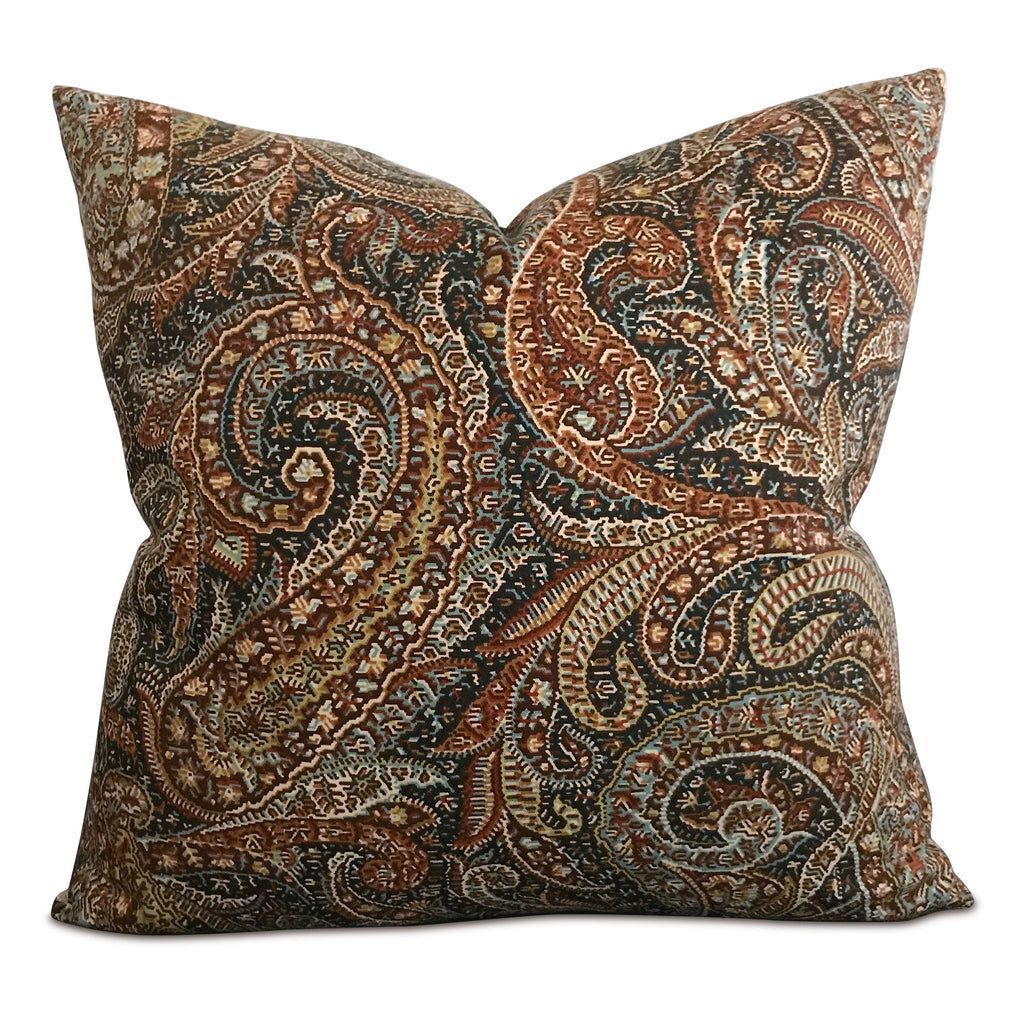 "Bronze Teal Paisley Decorative Pillow Cover 20"" x 20"""