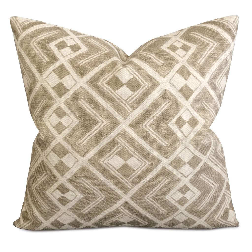 "20"" x 20"" Taupe Woven Geometric Aztec Decorative Pillow Cover"