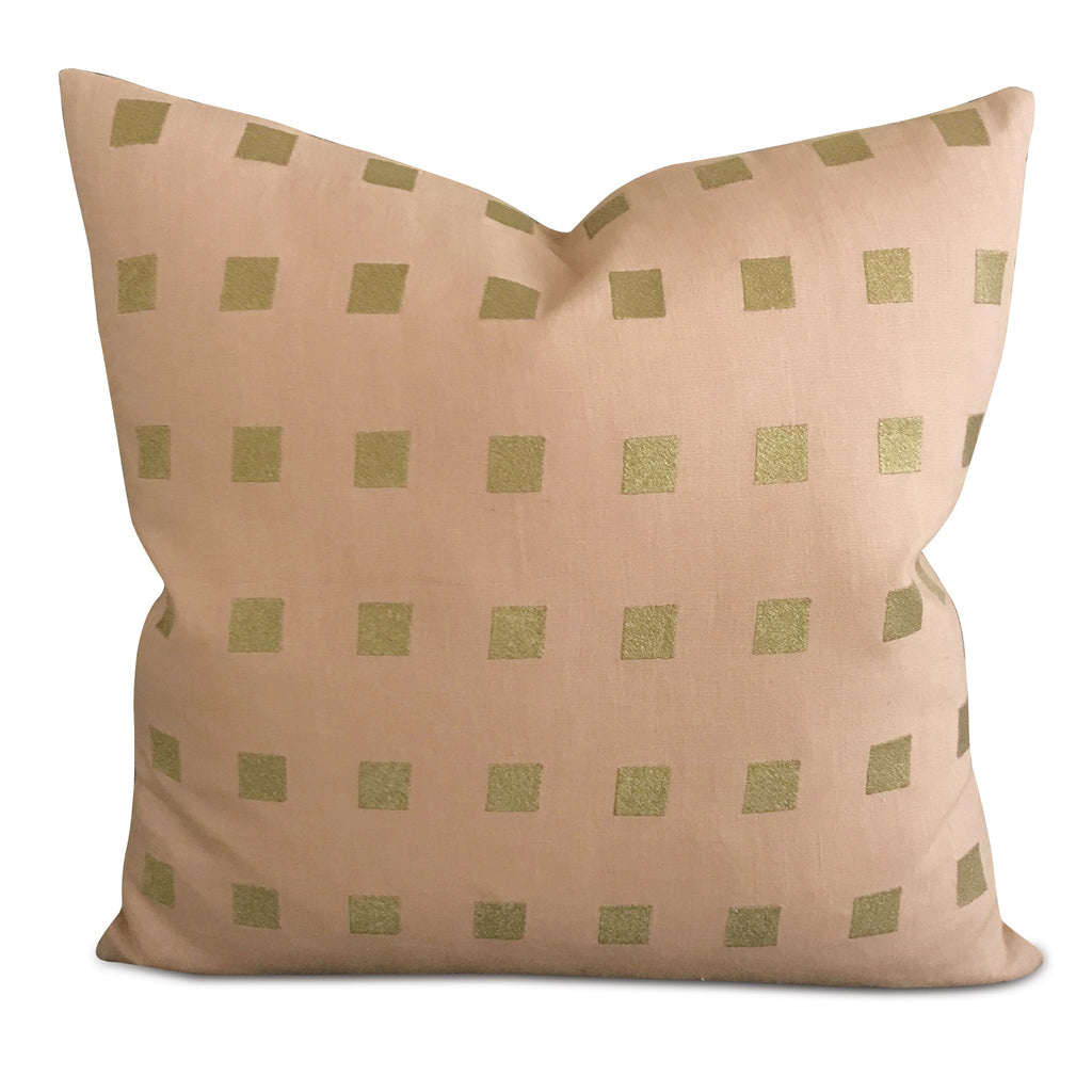 "Natural Linen Geometric Green Square Throw Pillow Cover 20"" x 20"""