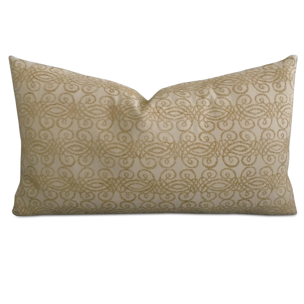 "15"" x 26"" Gold Velvet Geometric Jacquard Decorative Pillow Cover"