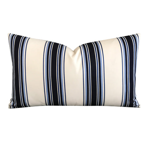 "15"" x 26"" Silk White Blue Stripe Decorative Pillow Cover"