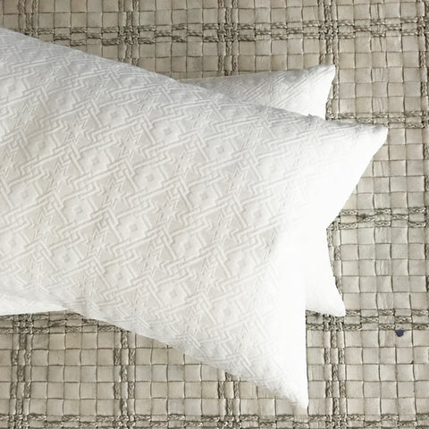 "15"" x 26"" Silk Ivory Embossed Geometric Decorative Pillow Cover"