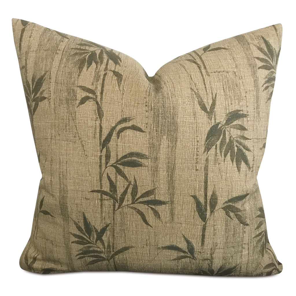 "Bamboo Green Woven Decorative Pillow Cover 22"" x 22"""