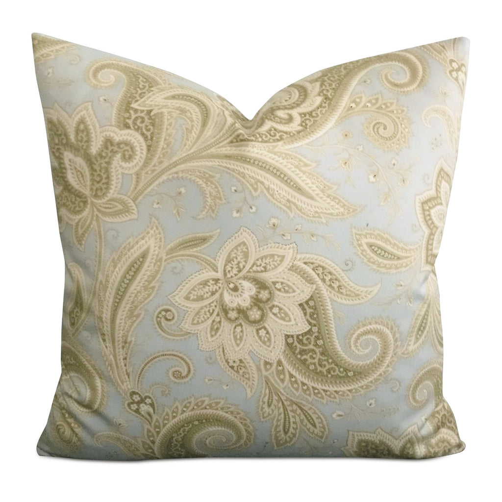 "20"" x 20"" Silk Blue Green Paisley Decorative Pillow Cover"