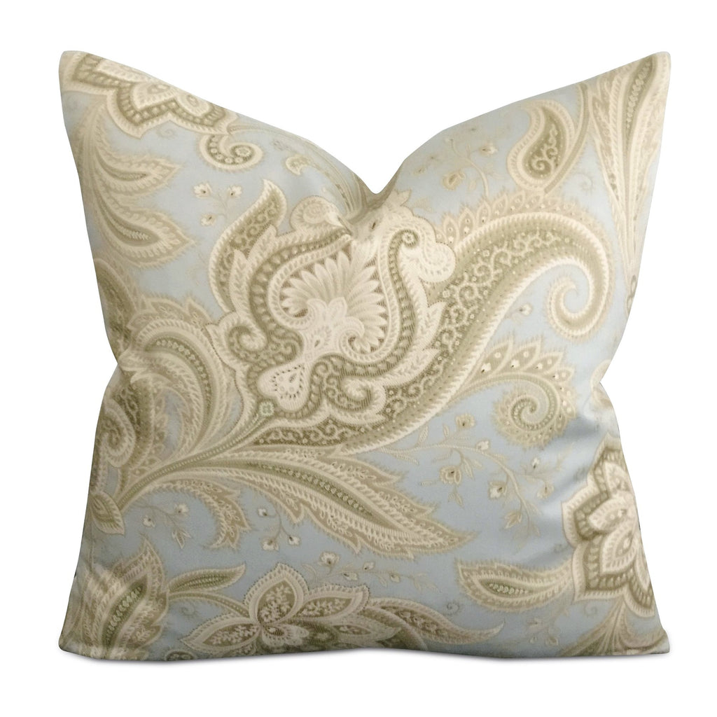 "16"" x 16"" Silk Blue Green Paisley Decorative Pillow Cover"