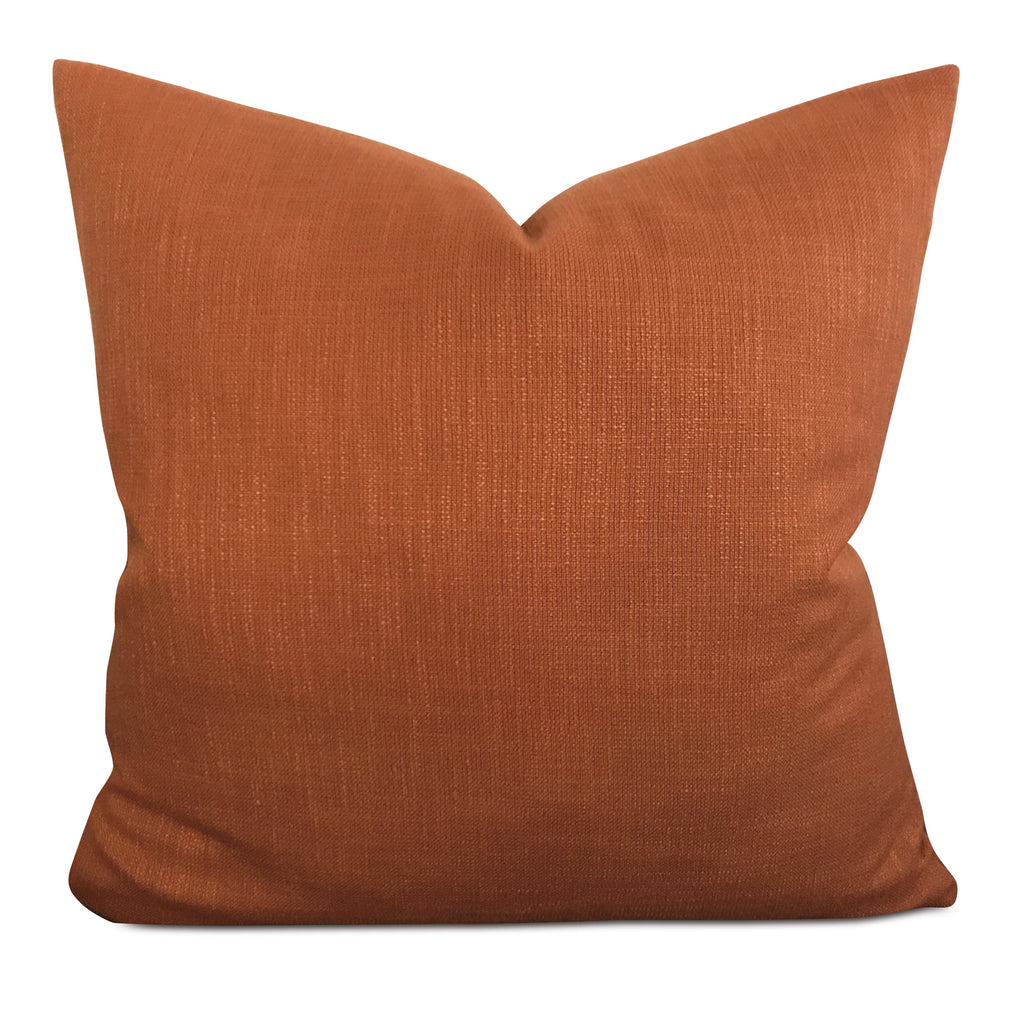 "22"" x 22"" Orange Cotton Linen Blend Decorative Pillow Cover"